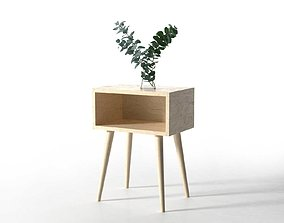 Side Table with Eucalyptus 3D