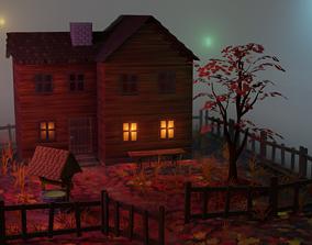 3D Autumn wooden house scene
