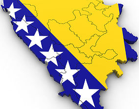 geographic 3d Political Map of Bosnia