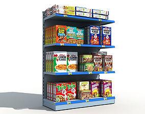 3D Supermarket Shelves Cereals
