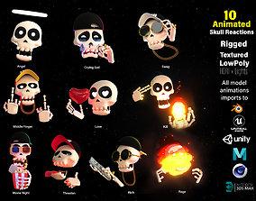 3D asset 10 Animated Skull Emojis