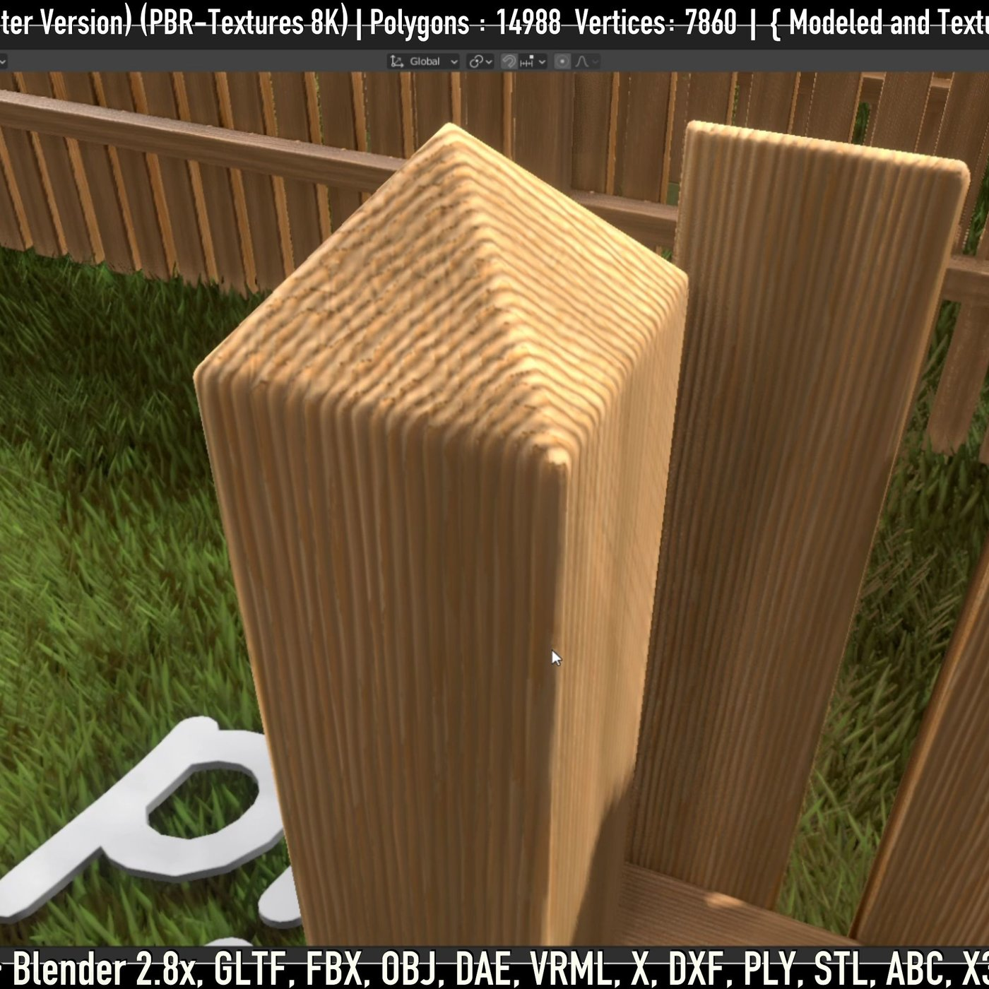 Modular Wooden Fence 1500mm Version Low-poly 3D model