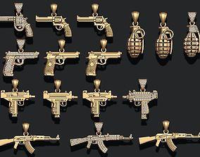 Gun pendants pack 3D printable model