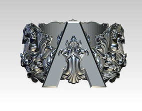 Letter A Initial Top Crown Kindom Carving 3D print model 3