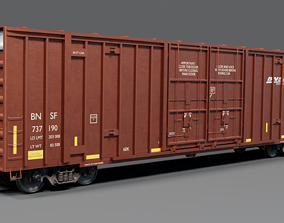 Railway BNSF Box Car 3D