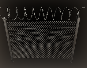 3D asset Barbed wire fence PBR