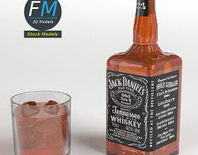 Jack Daniels Bottle and Glass 3D PBR