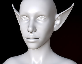 3D asset Base elf head with topology