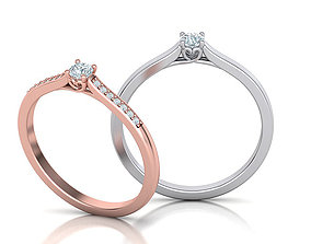 Solitaire Engagement ring with 3mm stone 3dmodel
