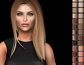 Female hair style rigged 3D rigged game-ready