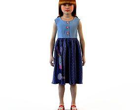 3D model Girl dress t shirt skirt Baby clothes babygirl