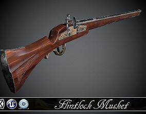 Long Flintlock Musket - model and textures 3D asset
