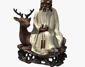 the god of longevity statue 3D asset