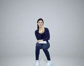 3D model Casual Woman Sitting and Learning