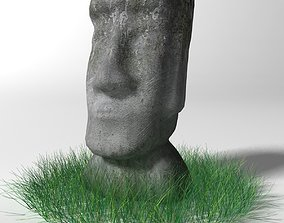 3D model game-ready Moai statue
