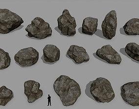 3D asset low-poly stone rocks