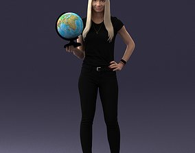 Girl with globe 0131 3D