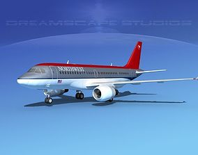 3D model Airbus A319 Northwest Airlines 1