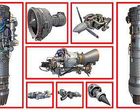 8 Aircraft Engine Models 3D