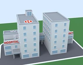 Cartoon Low Poly Hospital 3D asset