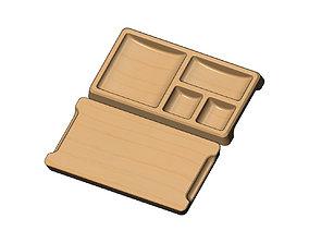 Rectangular 4 pockets serving tray relief 3D print model