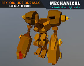 Low Poly Mech Warrior Robot Animated - Game 3D asset