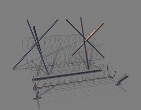 Barbed Wire and Brackets 3D asset