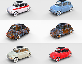 3D model Fiat 500 with interior Pack