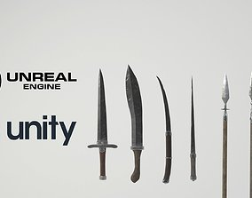 Medieval slavic weapons game asset VR / AR ready