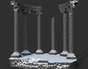 3D asset Low poly Ancient Roman Ruin Construction 05 - 1