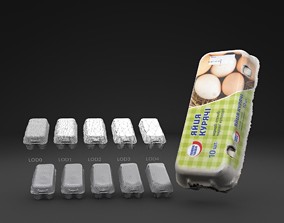 Scanned Egg Tray LOW POLY LODs 3D model