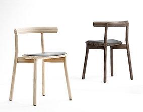 wooden 3D model Dessein Torii chair upholstered