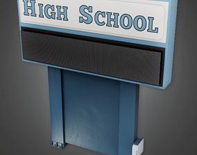 3D asset School Sign - CLA - PBR Game Ready