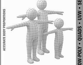 Stickman Kids 3D Model realtime toddler