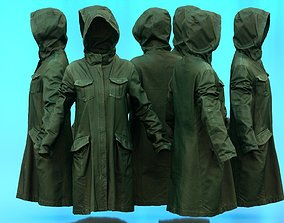 3D model Long Green Coat Hoodie