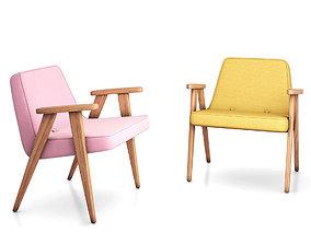 3D model 366 concept Armchair LOFT Mustard and VELVET Pink