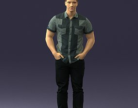 3D Young man in shiny trousers 0384