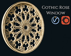 3D model PBR sculpture Gothic Rose Window