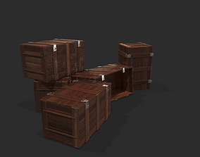 3D asset VR / AR ready wooden crate other