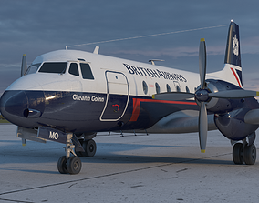 Hawker Siddeley 748 British Airways Low-poly 3D animated