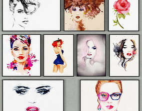 women Collection of paintings 3D model