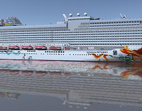 low-poly Norwegian Getaway cruise ship 3d model