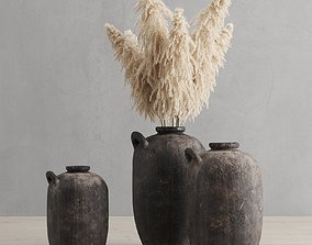 3D model Pampas grass and vases rh 19th spanish water