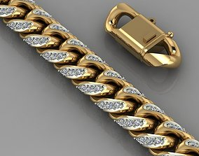 Miami cuban link chain bracelet 0069 3D print model