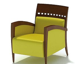 3D Retro Wooden Yellow Chair