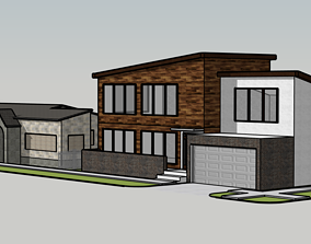 3D model Two Suburb Houses suburb
