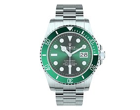 3D model Rolex Submariner Date Oystersteel Green Plate