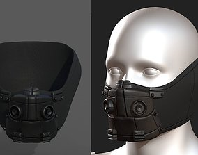 Gas mask respirator scifi futuristic low-poly