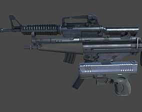 Weapons Pack 3D asset low-poly assault