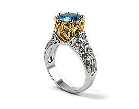 Vintage style wedding ring 3D printable model
